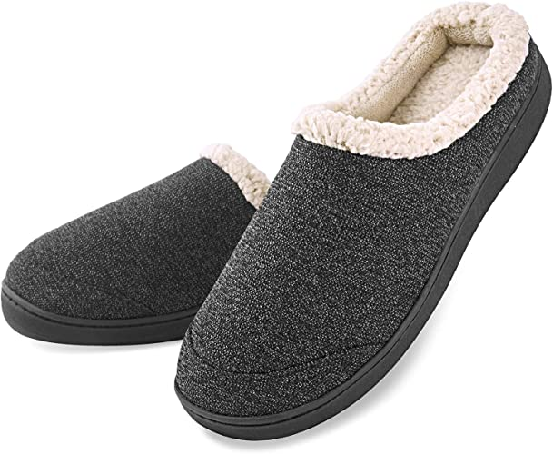 Mens Soft Memory Foam Indoor Outdoor Slippers with Anti-Slip Rubber Sole US 8-9 Balck Black