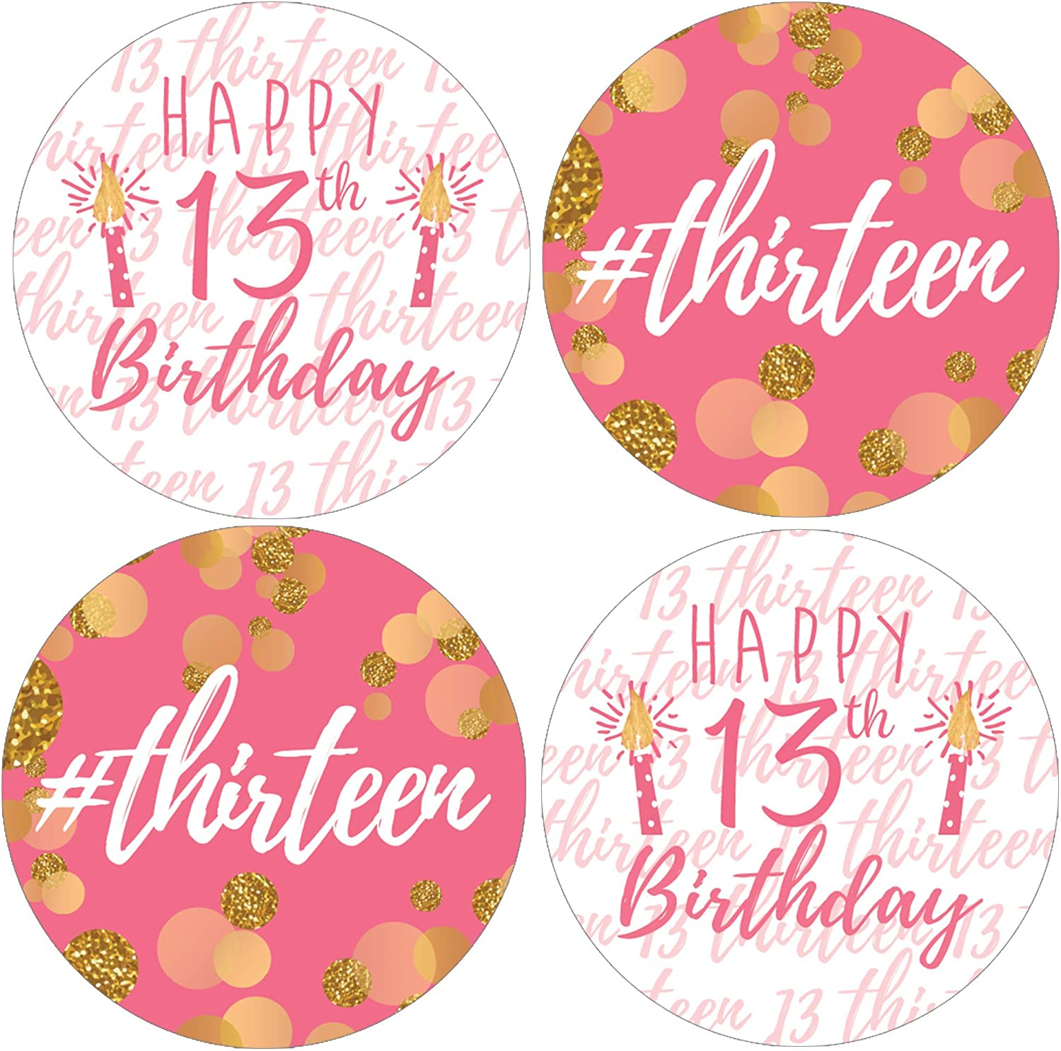 Pink and Gold Girl 13th Birthday Party Favor Stickers - 1.75 in - 40 Labels