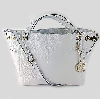 5ea835e06aeb Michael Michael Kors Jet Set Chain Item Large Gather Leather Shoulder Tote  (Optic White): Handbags: Amazon.com