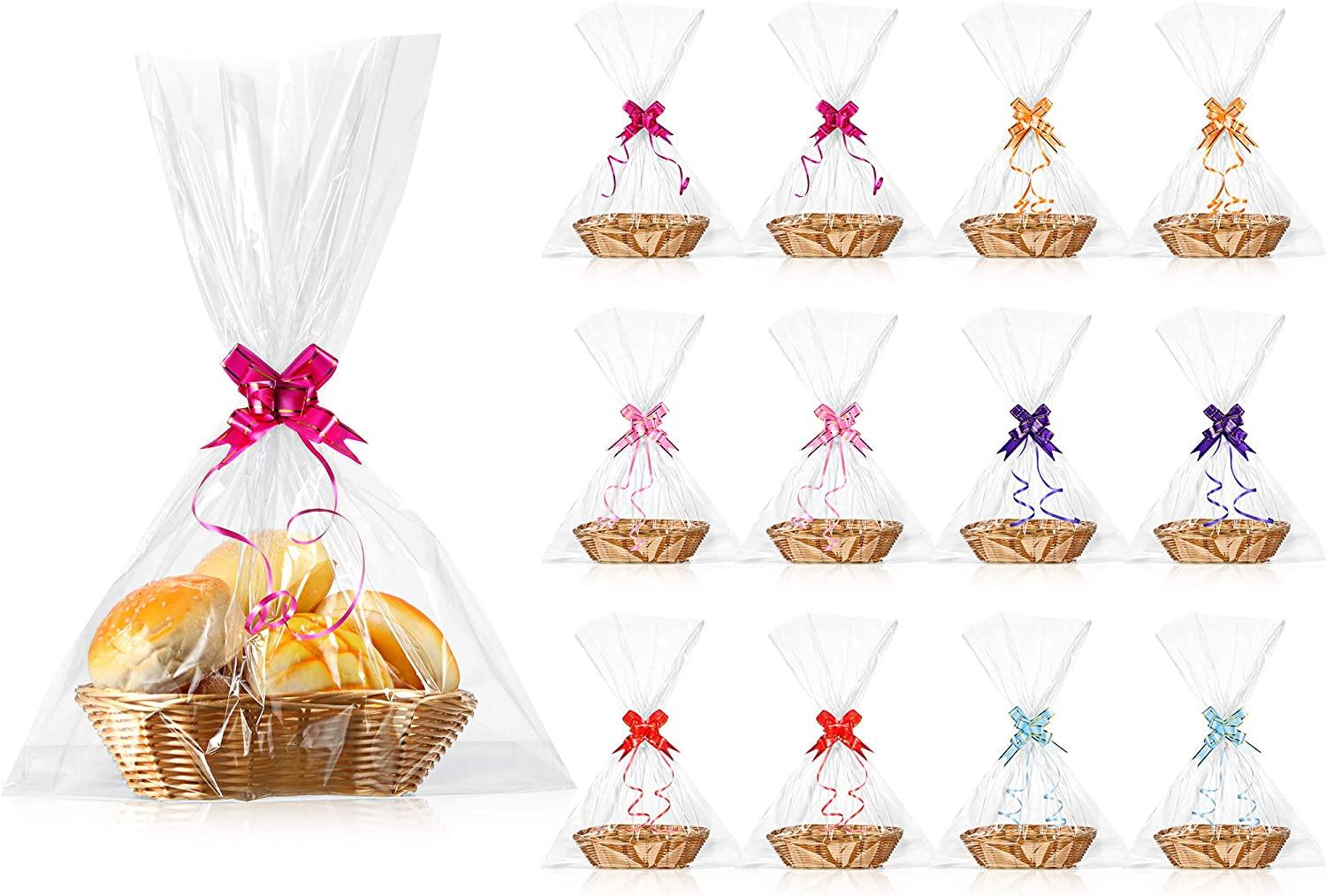 12 Pieces Oval Basket Food Storage Basket Woven Empty Basket Fruit Basket 9 x 6 x 2.25 Inches Gift Baskets with 60 Colorful Pull Bows and 30 Clear Gift Bags for Kitchen, Restaurant, Wrapping Gifts