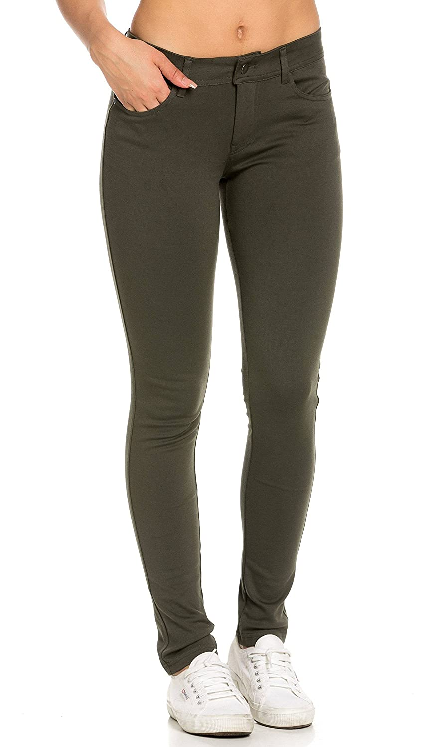 Classic Stretch Knit Skinny Pants in Olive (Plus SOHO GLAM Sohogirl.com ACLSKSPNTOLV