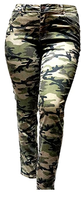 7fc0c508550 Jack David MIJEANS1826 JD S-Look Womens Plus Size Stretch Distressed Camo  Camouflage Skinny Jeans Pants at Amazon Women s Jeans store