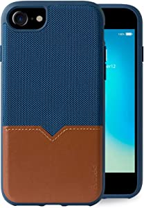 Evutec Compatible with iPhone 6/6s/7/8/SE(2020) Unique Heavy Duty Case Premium Leather + TPU Shockproof Interior Drop Protective Phone Cover - Blue/Saddle (AFIX+ Vent Mount Included)