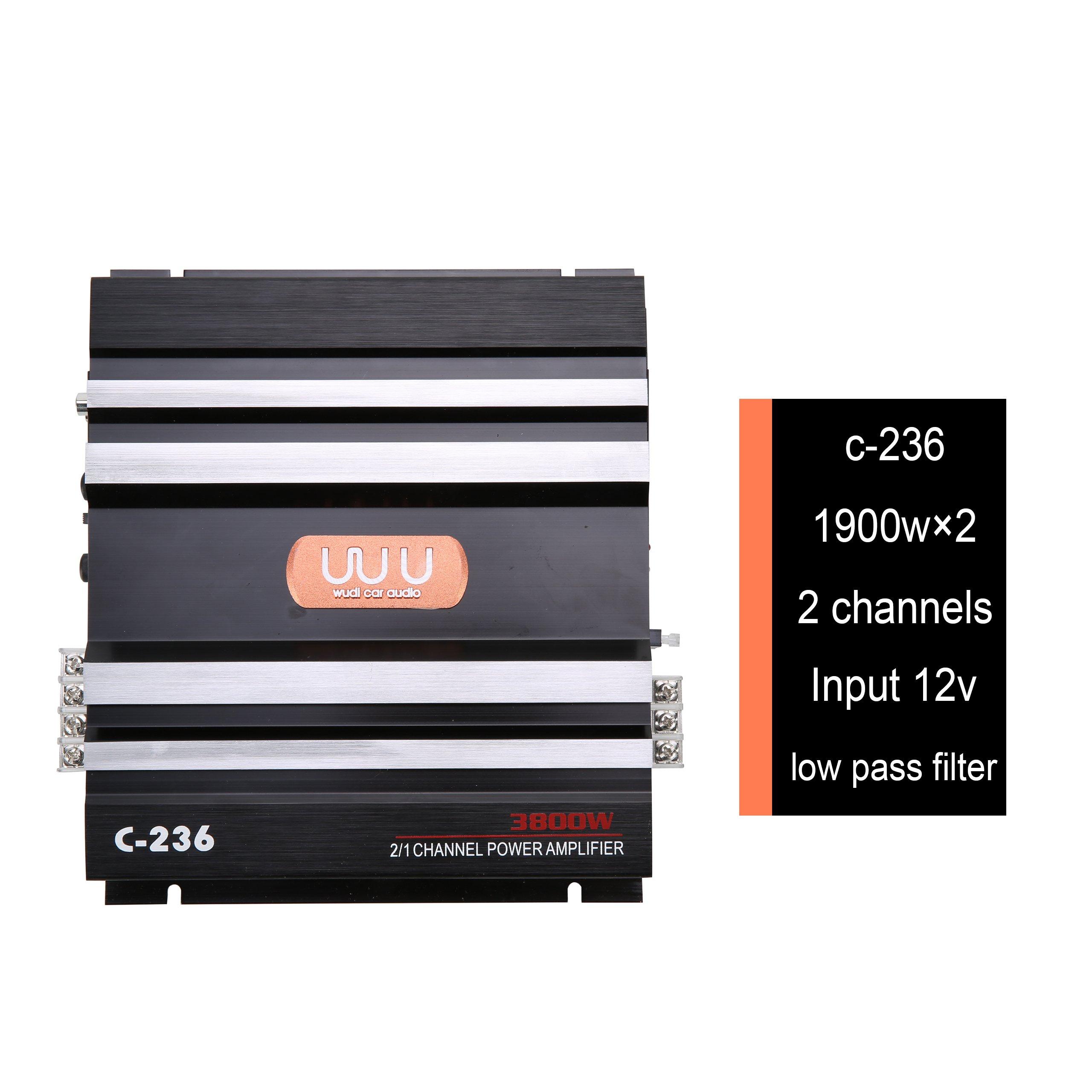 YaeCCC C-236 3800W 12V 2 Channel Powerful Car Audio Amplifier Bass AMP Aluminum
