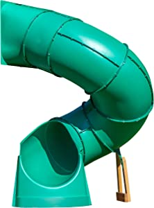 Backyard Discovery Tall Spiral Tube Slide - Right Exit, Green - Mounts to 5 Ft. Deck Height