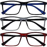 Opulize Ink 3 Stuks Leesbril Groot Zwart Grijs Rood Mannen Vrouwen Scharnieren Met Veer RRR4-17Z