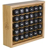 AllSpice Wooden Spice Rack, Includes 30 4oz Jars- Maple