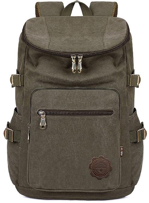 BEFAiR Men Medium Army Green Canvas College Backpack 15 inch Laptop Bag  Schoolbag Vintage Hiking Daypack 3f35fb09ae8b2