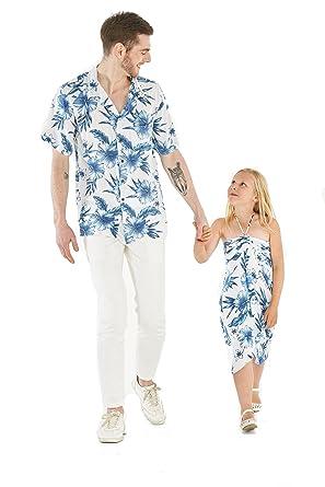d857cbef6 Matching Father Daughter Hawaiian Luau Cruise Outfit Shirt Dress Day Dream  Bloom Men S Girl 10
