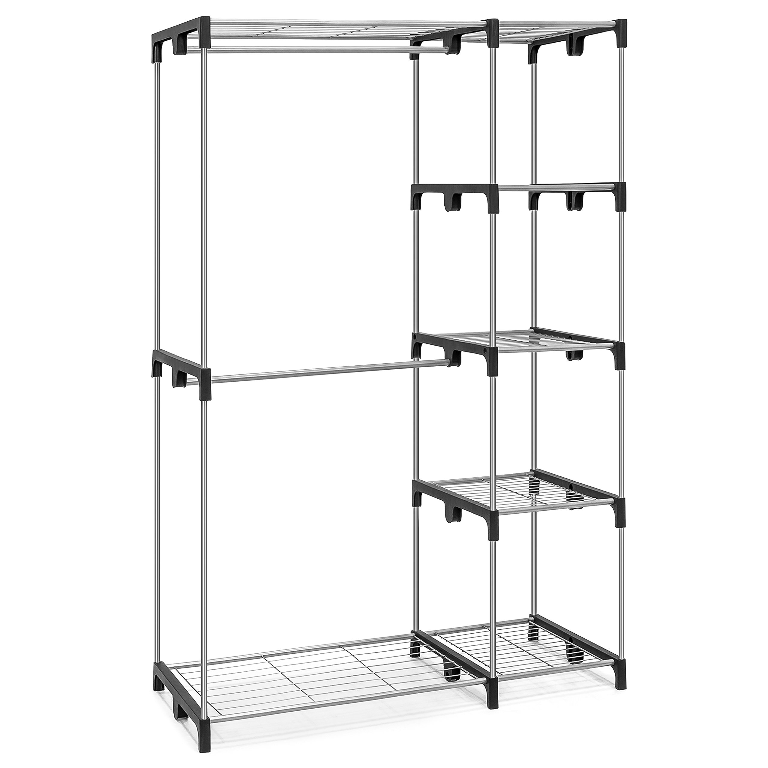 Best Choice Products 68'' Double Rod Freestanding Closet Storage Organizer (Silver)