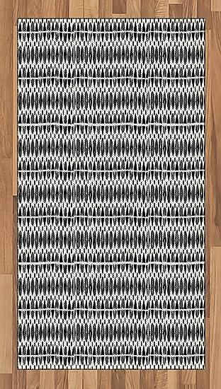 Amazon Com Ambesonne Black And White Area Rug Horizontal