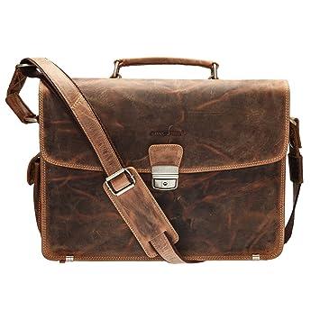 209e1ba51067d GreenBurry Laptoptasche 15 Zoll Rind-Leder Notebook-Tasche Laptopfach Akten  1718
