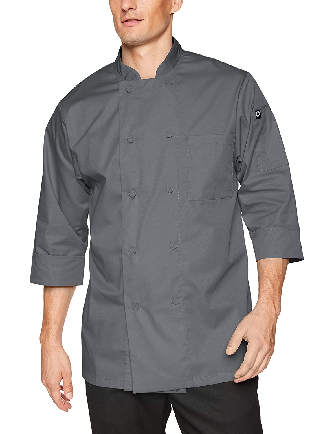 Chef Works Men's Essential 3/4 Sleeve Chef Coat (JLCL) JLCL-GRY-XS