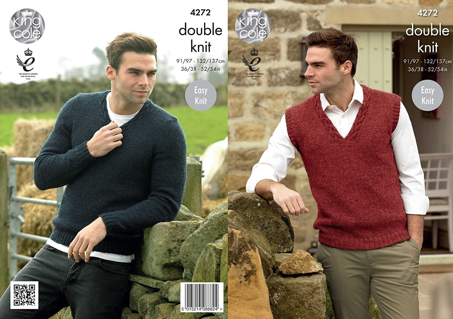 King Cole Mens Double Knitting Pattern V Neck Cable Detail Sweater & Slipover Panache DK (4272)
