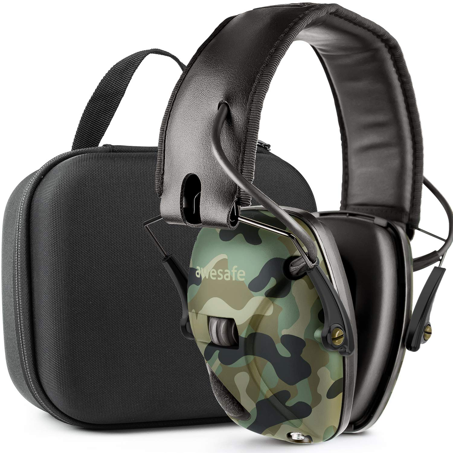 Awesafe Ear Protection for Shooting Range,Electronic Hearing Protection for Impact Sport [with Travel Storage Carrying Case Bag],Safety Ear Muffs, NRR 22, Ideal for Shooters and Hunting,Camo by awesafe