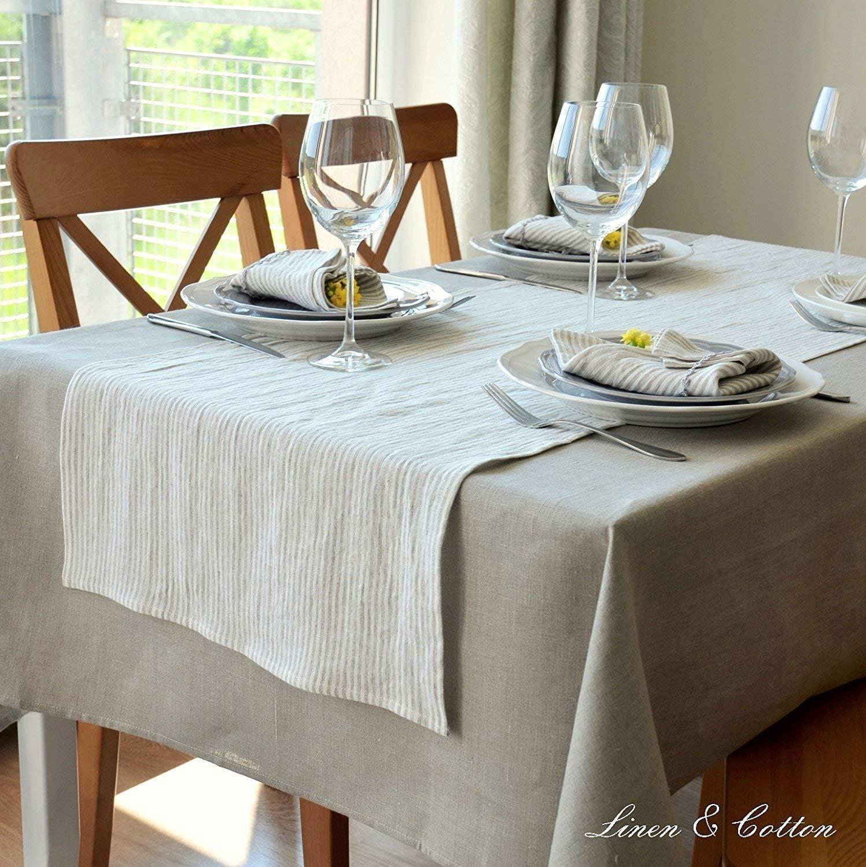 100/% Lino 45 x 45cm Set Di 4 Tovaglioli In Stoffa a Righe ELEGANTE Bianco//Naturale Linen /& Cotton