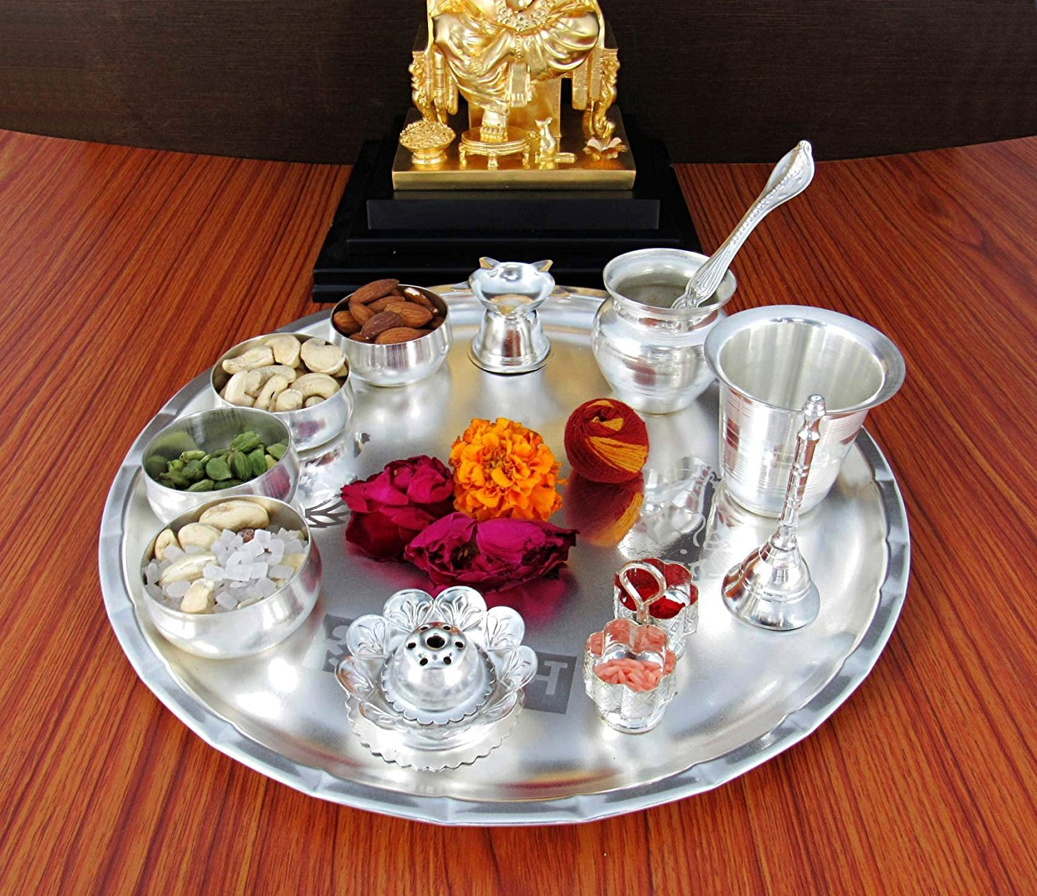 Nobility Silver Plated Pooja Thali Set - Classic Occasional Gift - Puja Thali Decorative - Wedding Return Gift - Size: 12 inch by NOBILITY