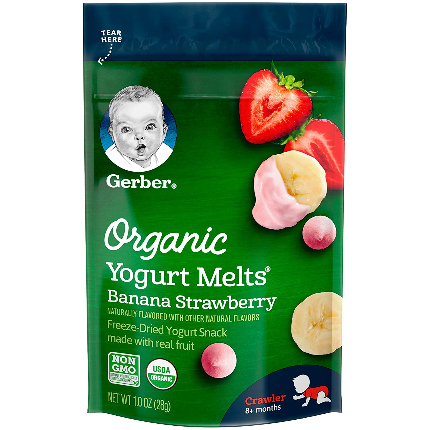 Gerber Organic Yogurt Melts Fruit Snacks, Banana and Strawberry, 1 Ounce (Pack of 7) Gerber Graduates