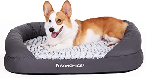 SONGMICS Orthopedic Plush Pet Dog Bed Comfortable with Removable Washable Cover Multi-size Gray