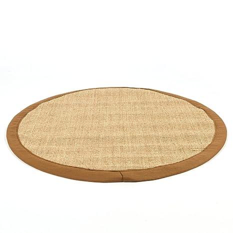 Homestyle4u 1381 Sisalteppich Braun Rund 100 Sisal Teppich Bordurenteppich Naturfaser 150 Cm