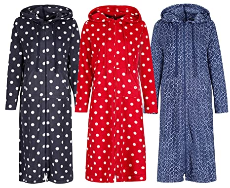 Ladies Marks Spencer Zip Hooded Housecoat Dressing Gown 3 Colours