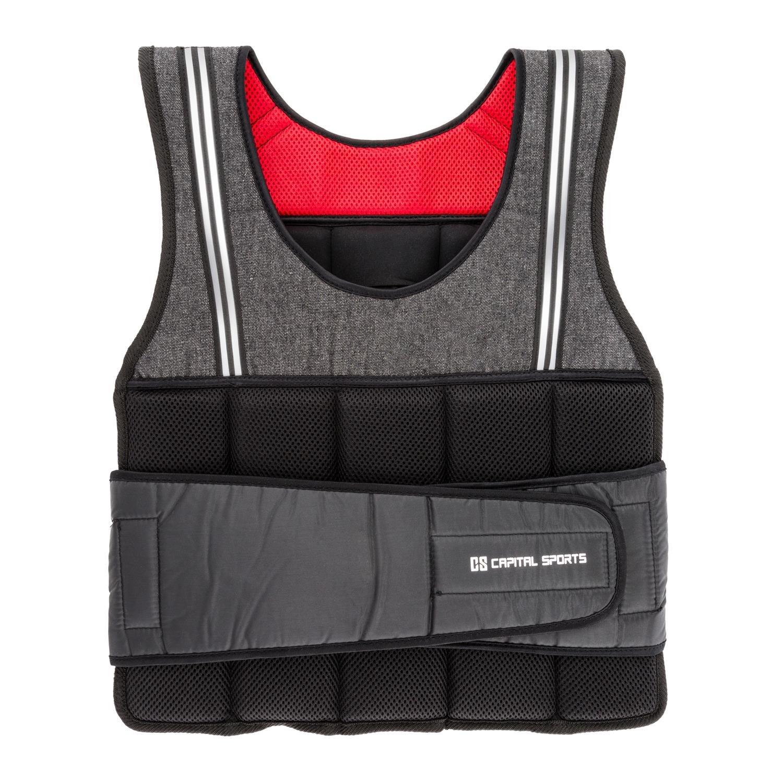 CapitalSports Vestpro 10 Chaleco de Peso lastrado (Weightvest 10 kg, 23 Pesas de Caucho Suave, Entrenamiento en casa, Comodo Resistente) Capital Sports