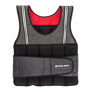 CapitalSports Vestpro 10 Chaleco de Peso lastrado (Weightvest 10 kg, 23 Pesas de Caucho Suave, Entrenamiento en casa, Comodo Resistente): Amazon.es: ...