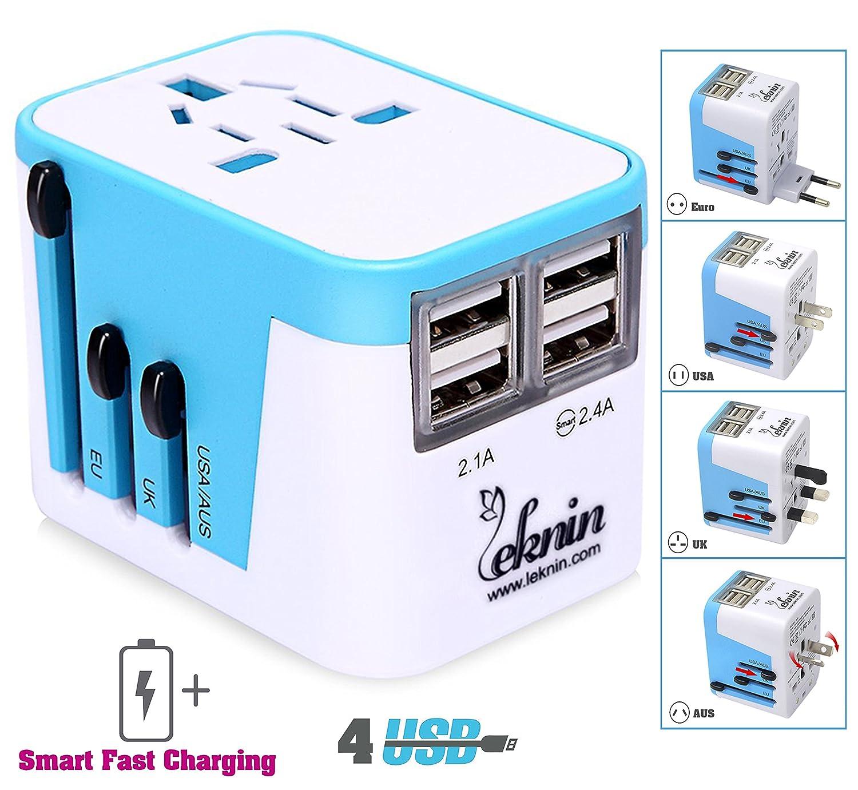 Adattatore Universale da Viaggio con 4 porte USB - Leknin All in One Adattatori da Viaggio con Ricarica Rapida EU UK US AU Tutto Compreso, Protezione da sovratensione (blu)