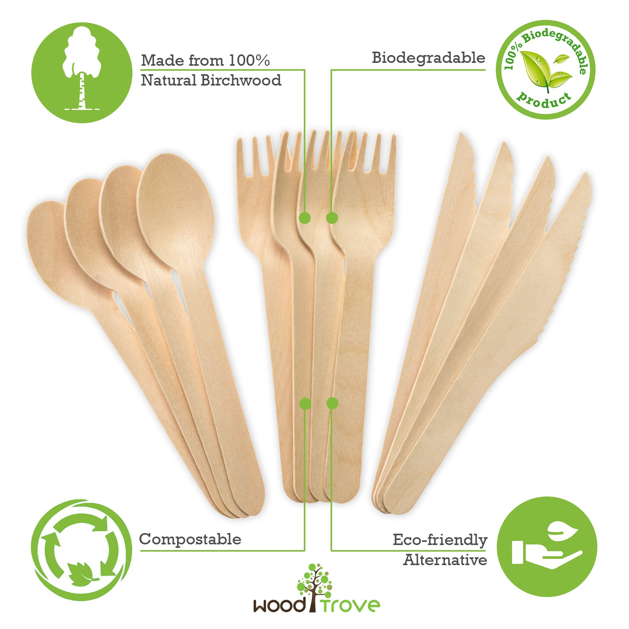 Wooden Disposable Utensils Set 100 Forks 50 Spoons 50 Knives Wood Cutlery Eco Friendly Compostable Biodegradable Silverware Party Flatware Kitchen Serving Eating Picnic Wedding Green Natural Utensil by Wood Trove (Image #2)