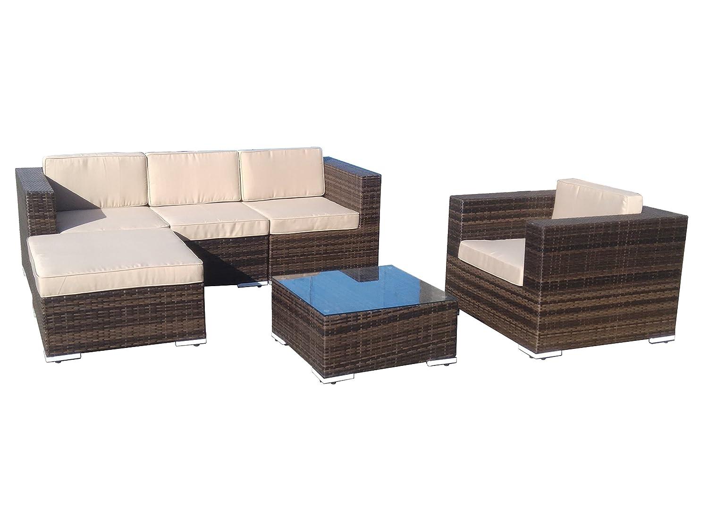 Amazon com direct wicker 5 piece patio outdoor mixed brown rattan furniture garden sofa sectional couch set beige cushion garden outdoor
