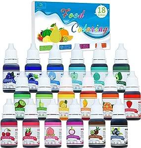 Colorante Alimentario - 18Colores x 10 ml Colorante Alimenticio Líquido Concentrado para Hornear, Alimentos, Decorar, Fondant y Cocinar - Colorante ...