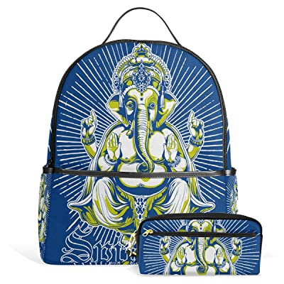 Ganesh Ganesha Unisex Rucksack Canvas Satchel Casual Daypack,School College Student Backpack with Pencil Case