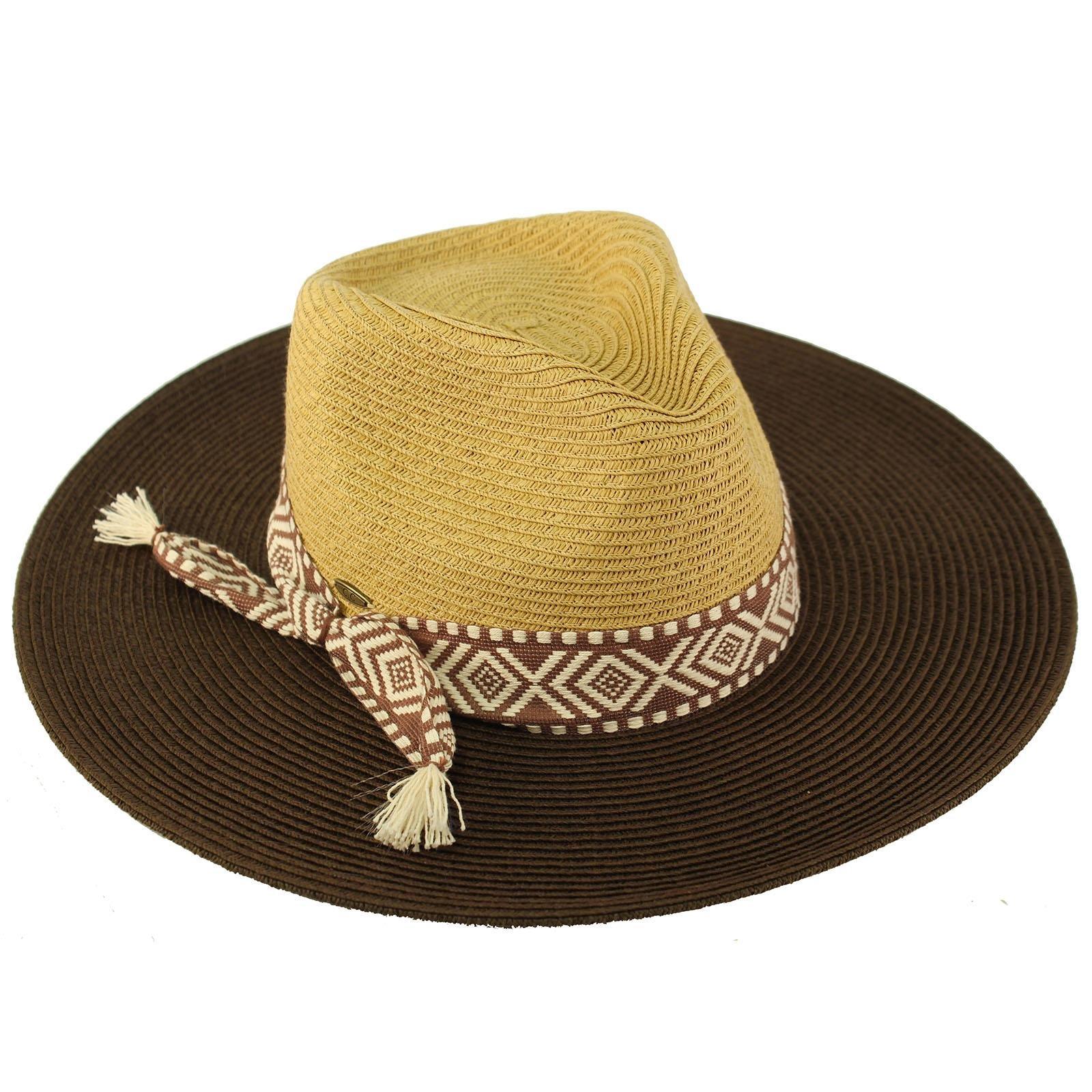 C.C Aztec Tassel Panama 2tone Fedora Wide Brim Summer Beach Pool Sun Hat Brown