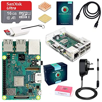 ABOX Raspberry Pi 3 B+ Model B Plus Desktop Starter Kit, Clear Case, 16GB  Preinstalled with NOOBS Class 10 SanDisk Micro SD Card, 5V 3A On/Off Switch