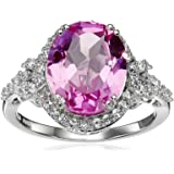 Sterling Silver Oval Shape Created Pink Sapphire with Round Created White Sapphire Ring, Size 7