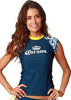 Amazon.com: Corona Rash Guard Ladies manga corta playa ...