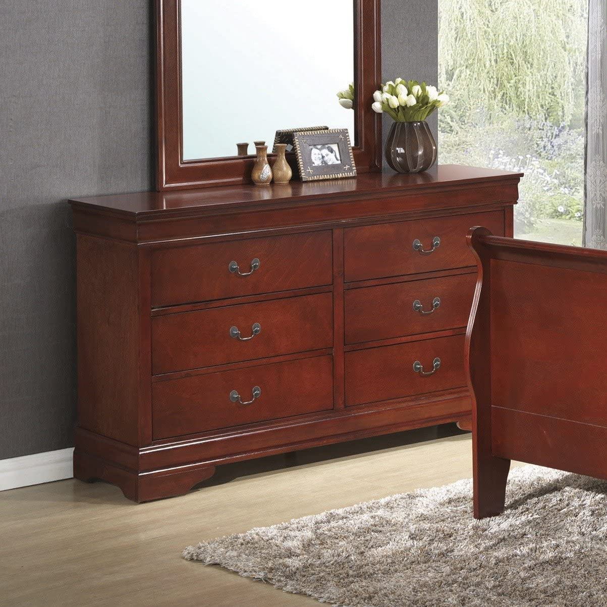 Coaster Home Furnishings Louis Philippe 6-Drawer Dresser Red Brown