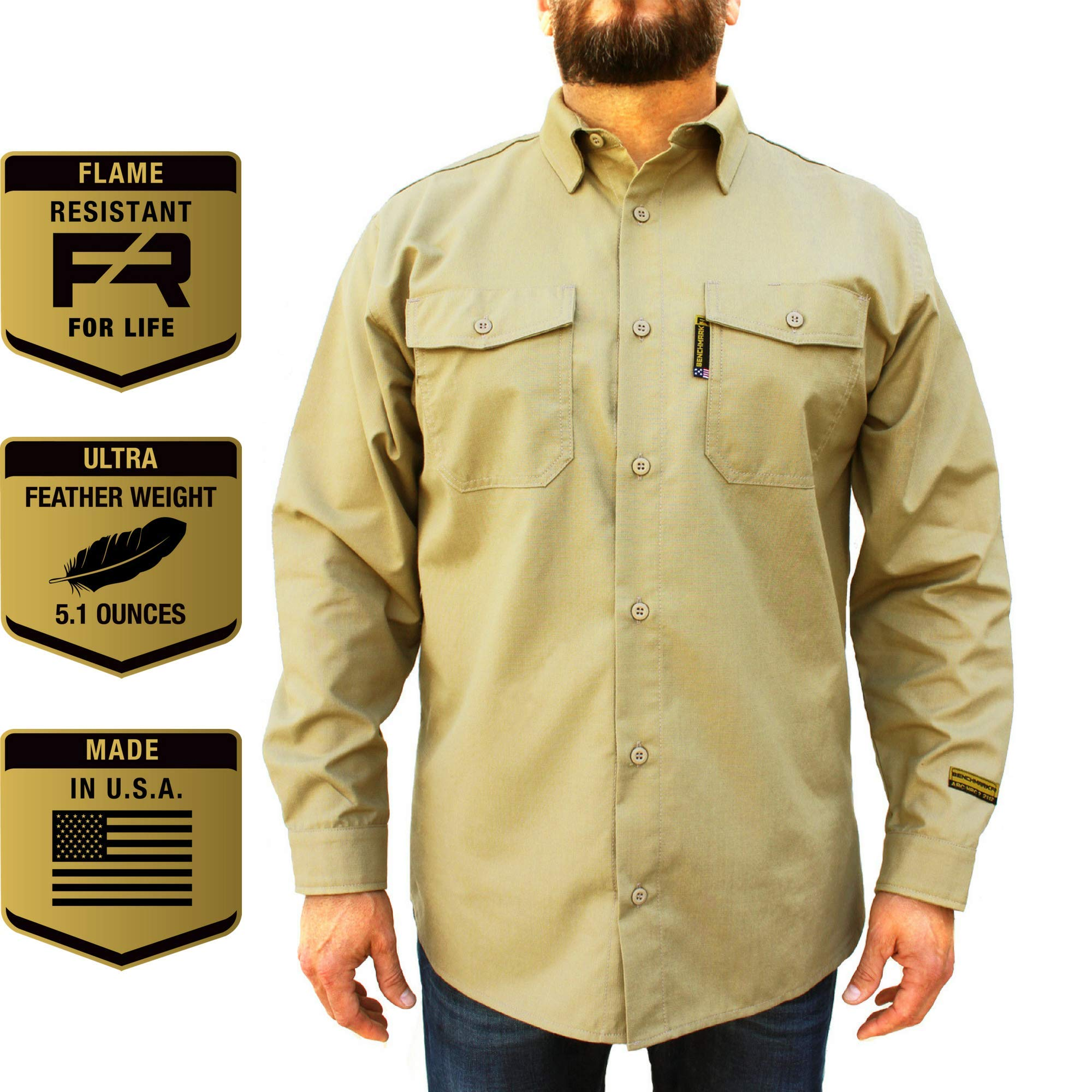 Benchmark FR Silver Bullet, 5.1 oz Ultra Lightweight FR Shirt, NPFA 2112 & CAT 2, Moisture Wicking, Men's FRC with 9 Cal rating, Made in USA, Advanced FR Materials, Beige, Large by Benchmark FR (Image #1)