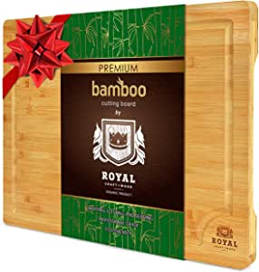 """EXTRA LARGE Organic Bamboo Cutting Board with Juice Groove - Kitchen Chopping Board for Meat (Butcher Block) Cheese and Vegetables 