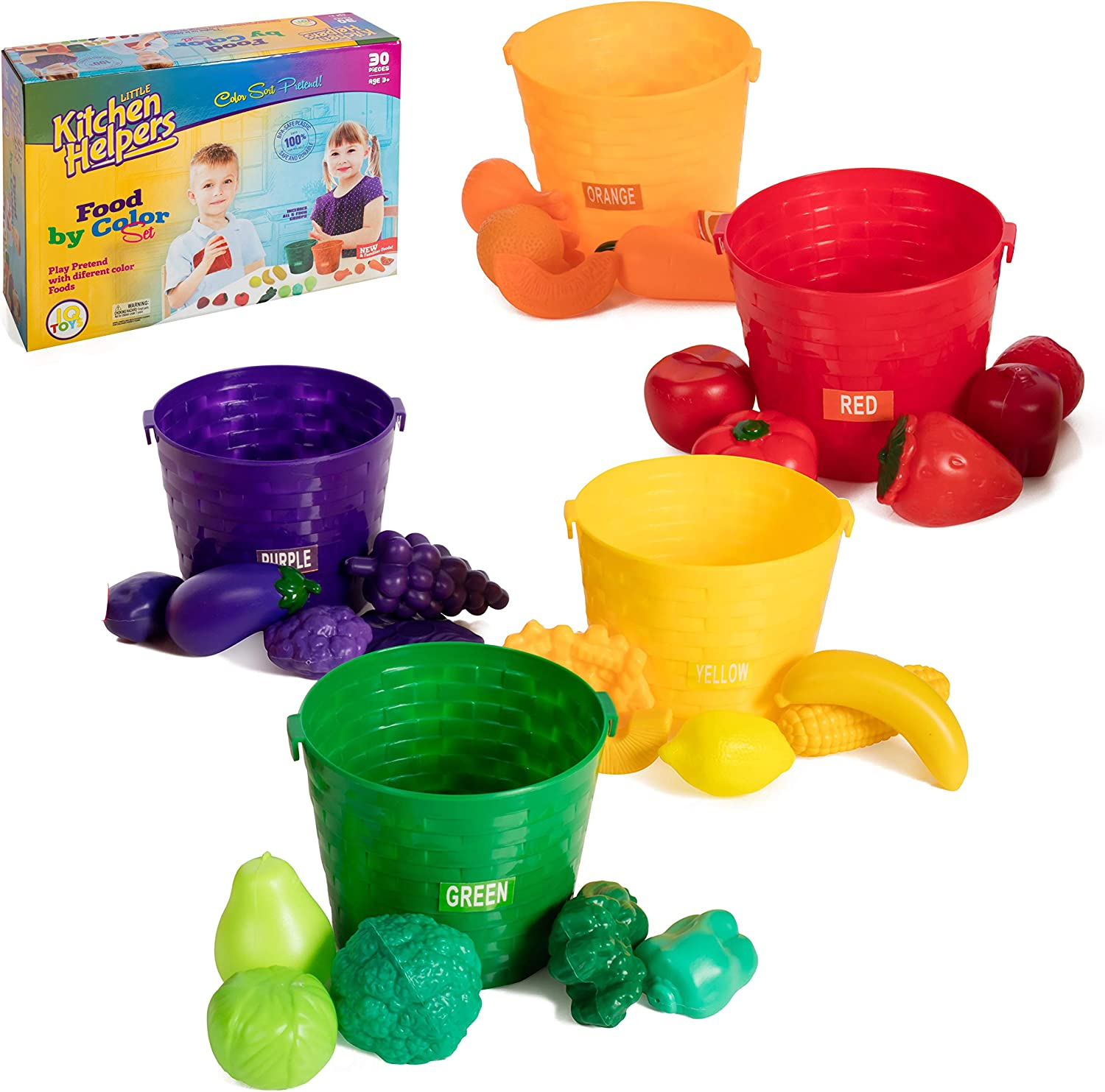 IQ Toys Farmer's Market Color Sorting Set, Play Food with 5 Color Coded Buckets. Complete Pretend Play Fruits and Vegetables Learning Toy Set for Toddler Kids Girls and Boys, 30 Pieces