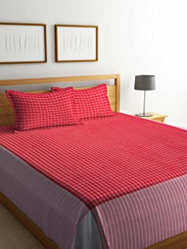 Dhrohar Classy Hand Woven Cotton Double Bed Cover with 2 Pillow Covers - Red & White