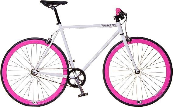 Kamikaze Bicicleta Fixie Blanca Rosa (M): Amazon.es: Deportes y aire libre