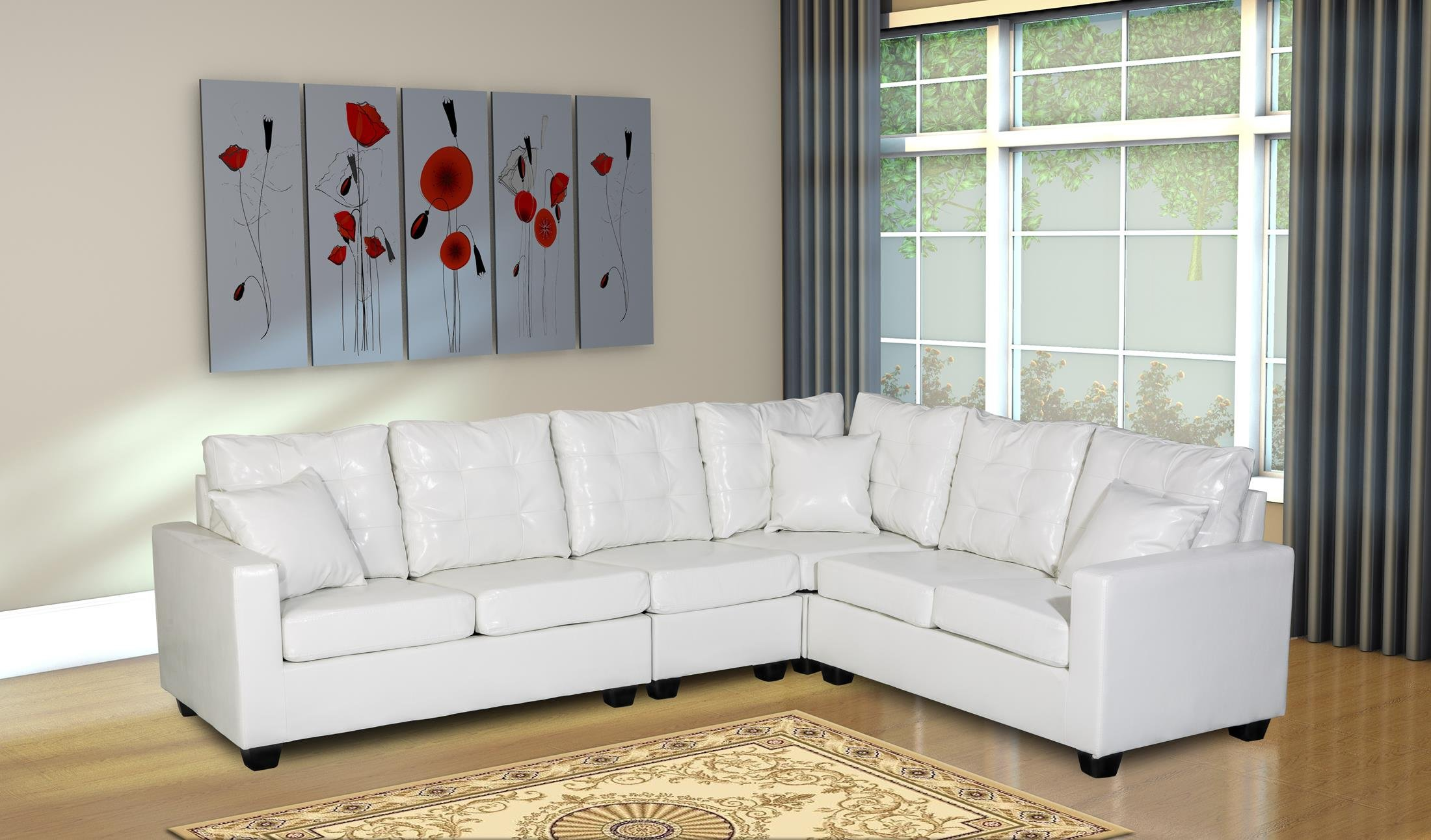 "Oliver Smith - Large White Leather Modern Contemporary Upholstered Quality Sectional Left or Right Adjustable Sectional 103"" x 81"" x 35"" s287white - Fixed Plush Back Cushions to keep things neat Adjustable Left or Right. 103"" W x 83"" D x 35"" s287lgrey H Fast Assembly - Just Screw on the Feet - sofas-couches, living-room-furniture, living-room - 81J87TTA8uL -"