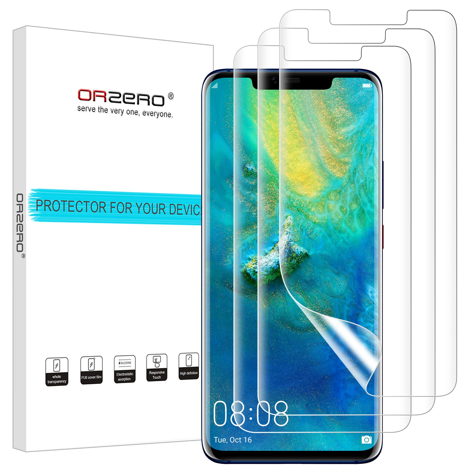 (3 Pack) Orzero Compatible for Huawei Mate 20 Pro HD (Premium Quality) Edge to Edge (Full Coverage) New Screen Protector, High Definition Anti-Scratch Bubble-Free (Lifetime Replacement)