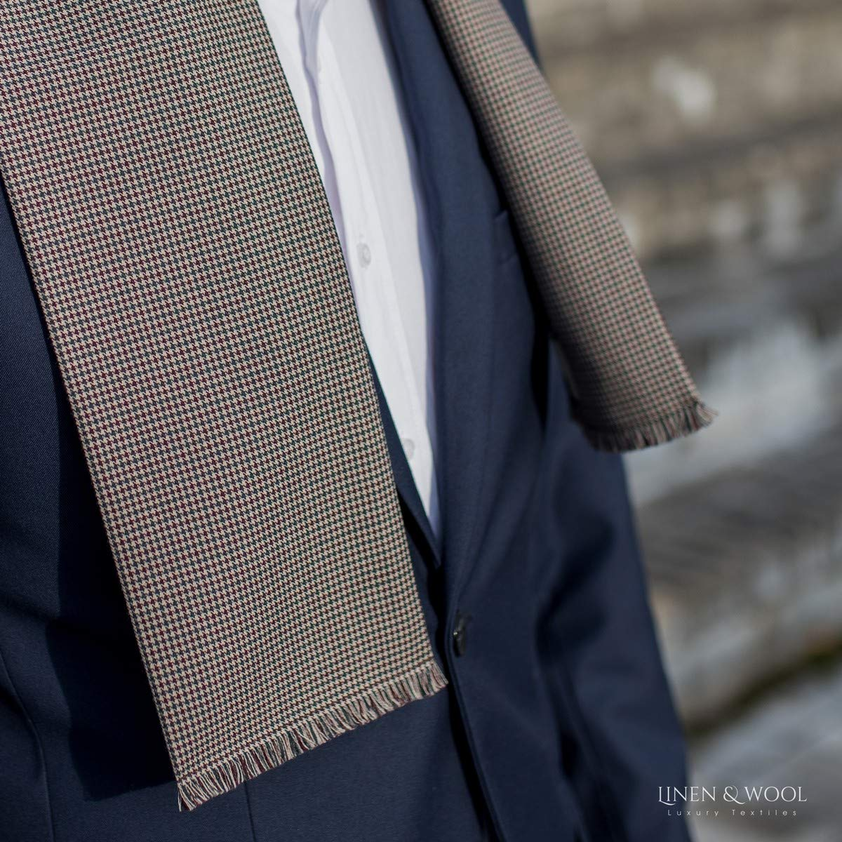 45/% Wool 55/% Polyester 13 x 160 cm Beige 5.2 x 64 Linen /& Cotton Light Classic Opera Men Winter//Summer Scarf Milano
