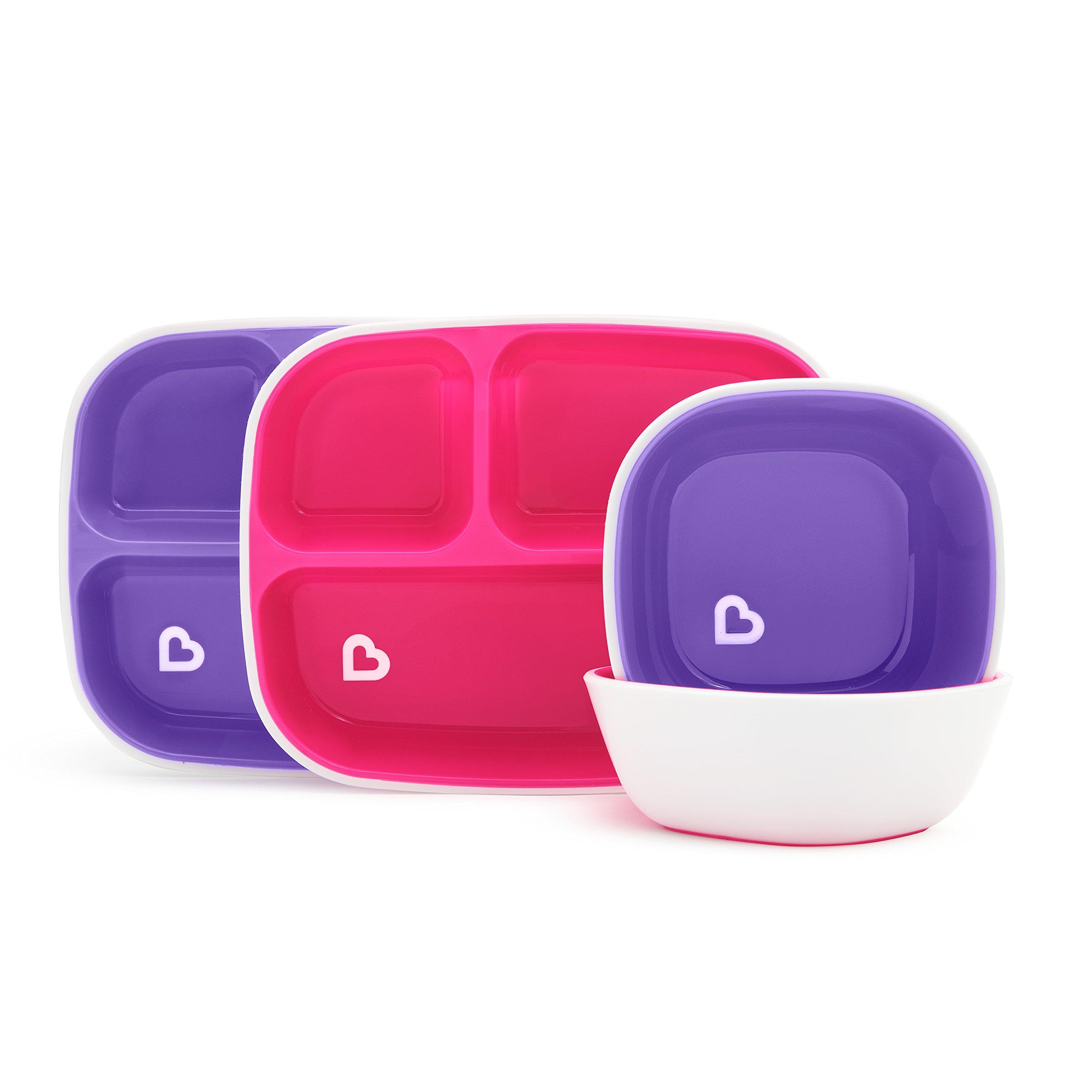 Munchkin Splash 4 Piece Toddler Divided Plate and Bowl Dining Set, Pink/Purple
