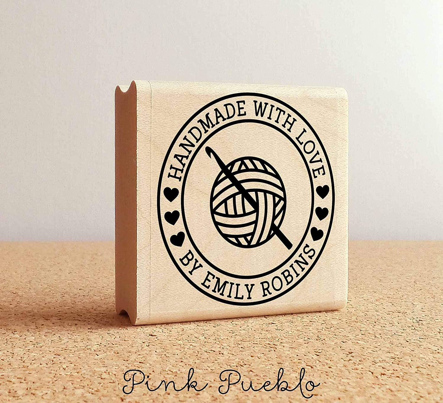 B0163K9SJ4 Personalized Crochet Rubber Stamp, Handmade with Love Crochet Yarn Stamp 81J88k5oEoL