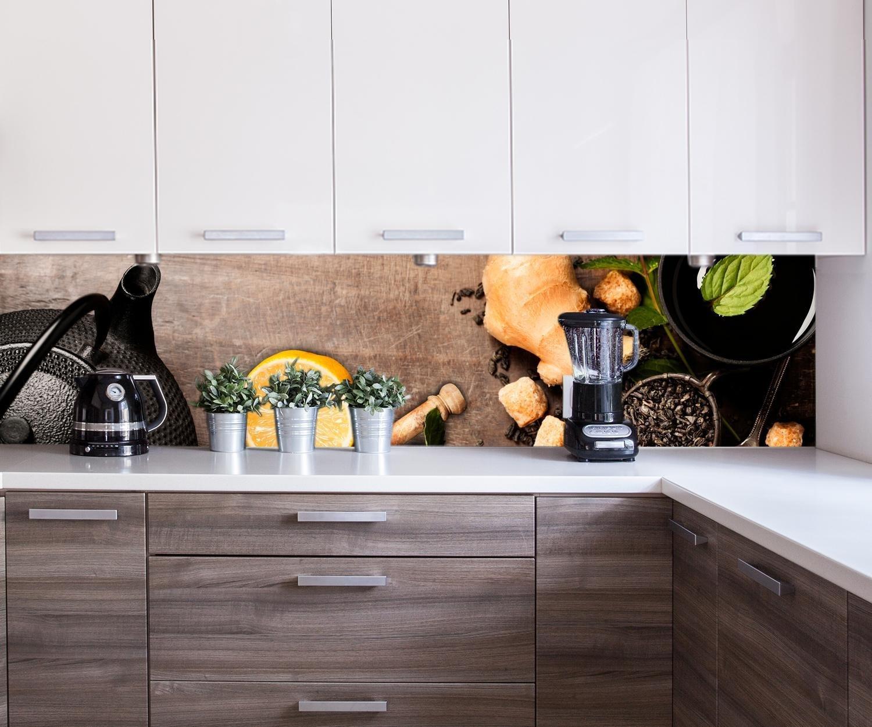 ... Tetera rústica con Hierbas Design M0847 260 x 50 cm (W x H) - 3 mm de Aluminio Pared Trasera Cocina Foto Foto Cocina Foto Foto Motivo Estufa azulejo ...