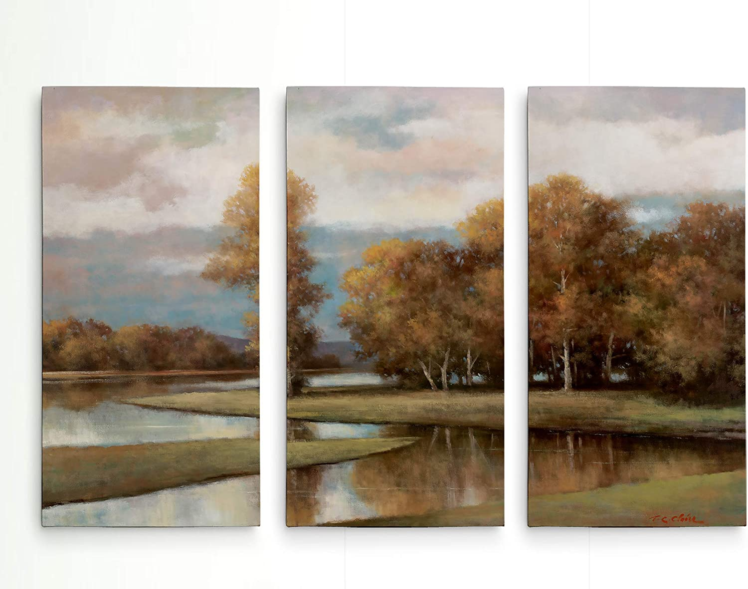 Amazon Com Renditions Gallery Canvas Prints Wall Art Winding River Ii Gallery Wrapped Lanscape Modern Home Décor Ready To Hang 3 Pieces Each Canvas 12in Wx24in Hx1 5in D Total Size 36 Wx24 Hx1 5 D Posters Prints