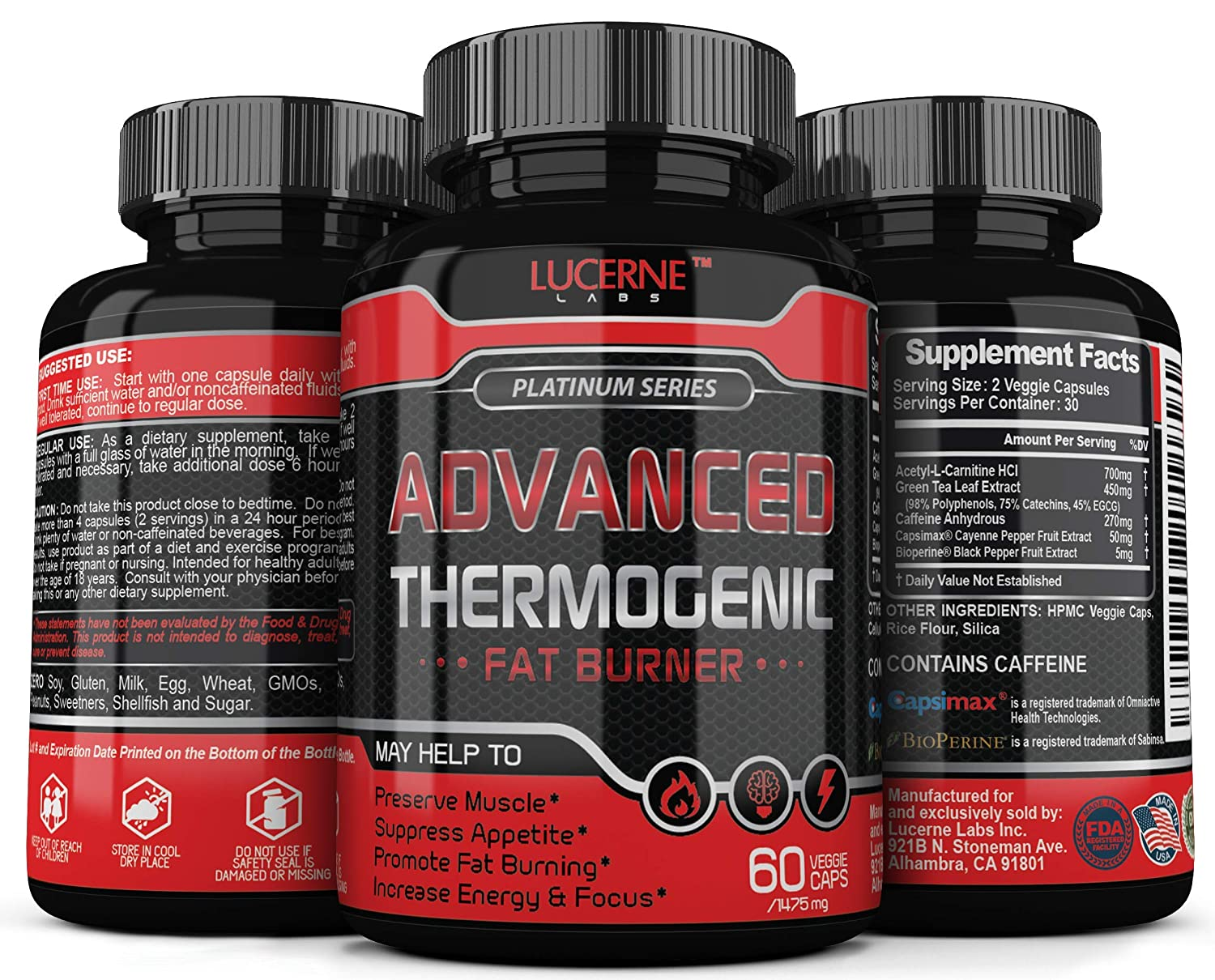 Advanced Fat Burner Appetite Suppressant – Weight Loss Supplement for Women Men, Acetyl L Carnitine, Energy Booster, Metabolism Booster for Weight Loss, Belly Fat Burner, Keto Friendly